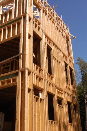 Interior sheathing wood frame construction green home for Green board exterior sheathing