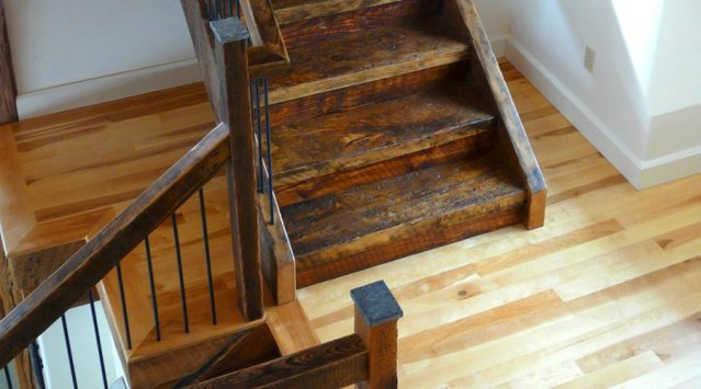 stairs from reclaimed barn wood