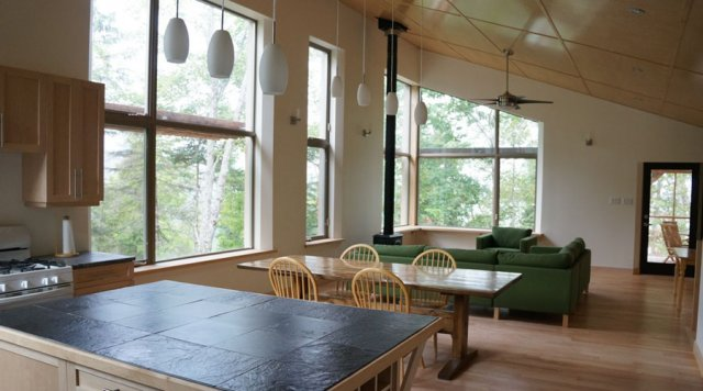 Off grid, passively heated and cooled house in the Gatineau Hills, Quebec