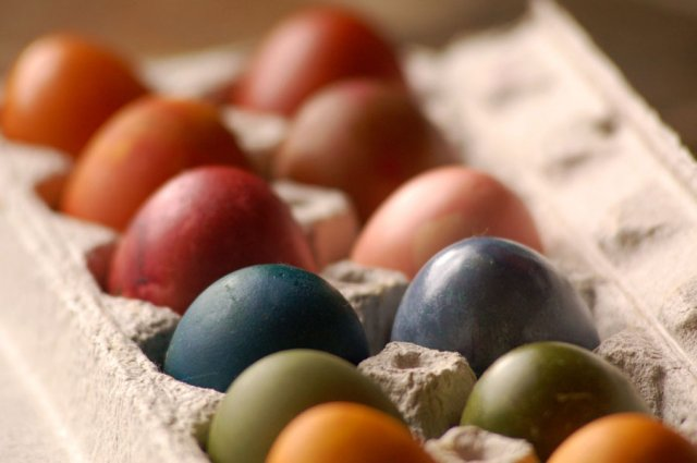 Non-toxic naturally dyed easter eggs