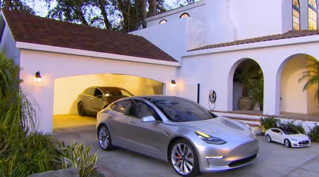 Tesla Model 3 and Tuscan Solar Roof shingles