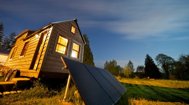 Solar panels outside the Tiny Tack House