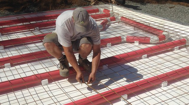 Air-heated radiant floors