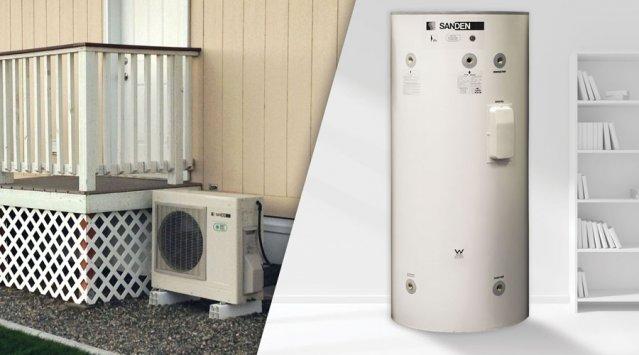Heat pump water heater with exterior compressor