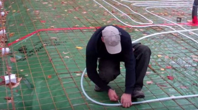 Radiant floor tube installation
