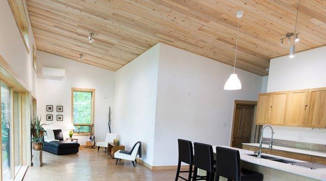Reclaimed sunken lumber for wood ceiling