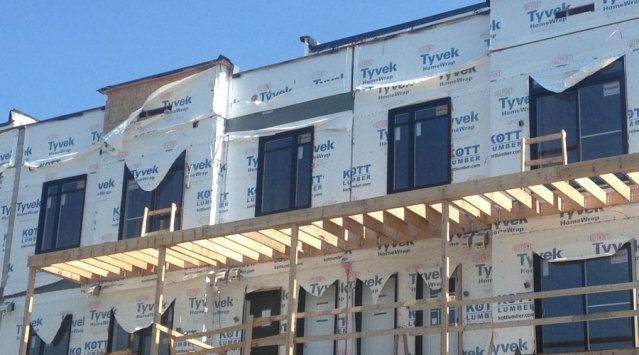 Tyvek home wrap left exposed to wind and UV rays
