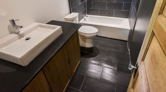 Slate tile installation in bathrooom