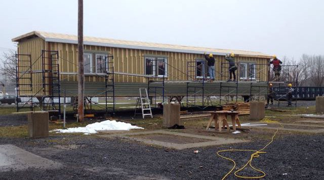Pre-fab LEED home built by carpentry students