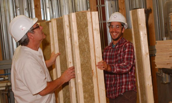 Teachers experimenting with insulated I-joists as wall studs