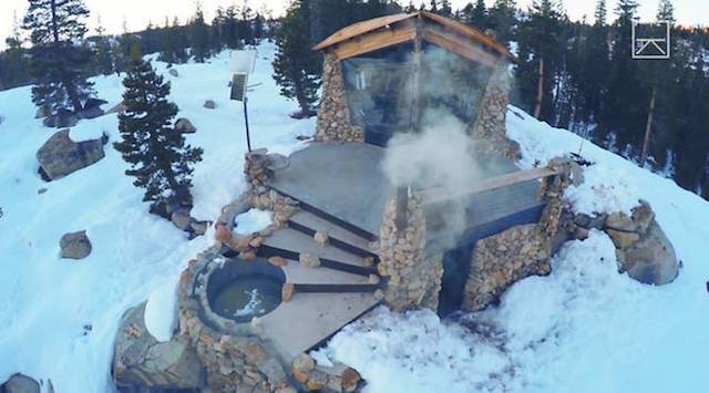 Snowboarder, Mike, Basich's, off-grid cabin in the woods with hot tub