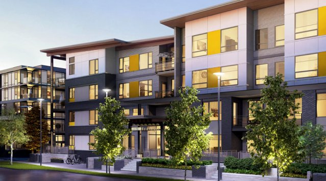 Rendering of River District Sustainable housing development In Vancouver