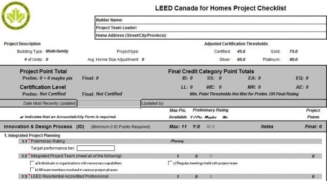 Leed for homes checklist ecohome for Leed for homes provider