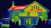 Thermal image showing where home heat loss is occurring.