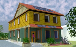 Artistic rendition of the 2000 square foot sustainable home being built this sum