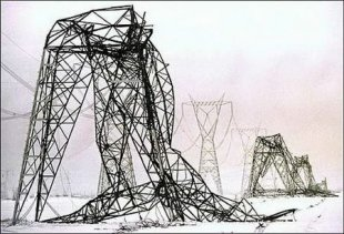 Hydro towers toppled by the 1998 ice storm