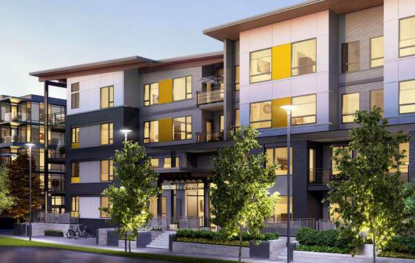 Rendering of River District Sustainable housing development In Vancouv