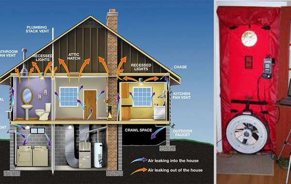 Problem areas of air leakage in a home and blower door test being cond