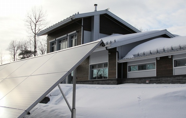 Solar panels power the Kenogami House in Saguenay, Quebec