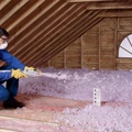 Blown-in fiberglass attic insulation