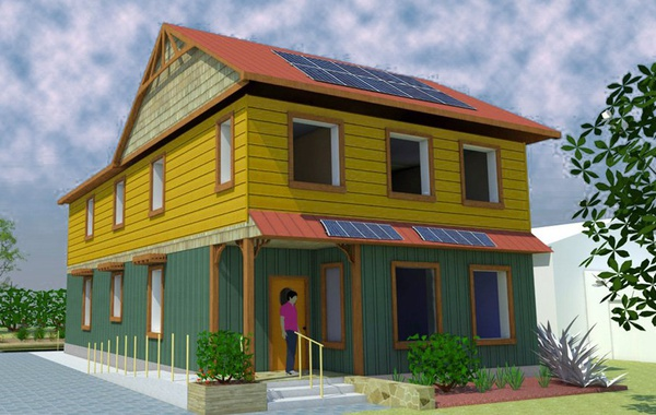 Artistic rendition of the 2000 square foot sustainable home being buil