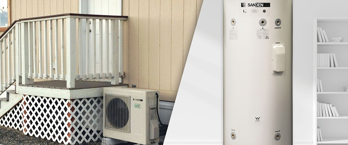 Exterior compresssor heat pump water heater