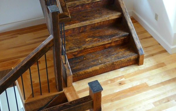 Stairs made from reclaimed barn beams