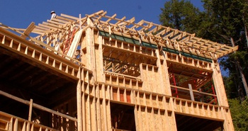 Interior sheathing wood frame construction
