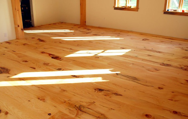 White pine floors finished with Rubio Monocoat, a zero VOC durable oil