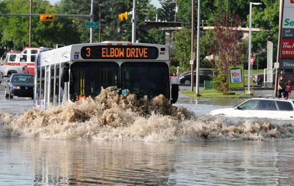 Flooded streets impervious surfaces - Calgary Alberta
