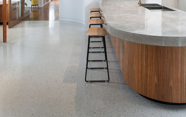 Polished concrete floors and counters