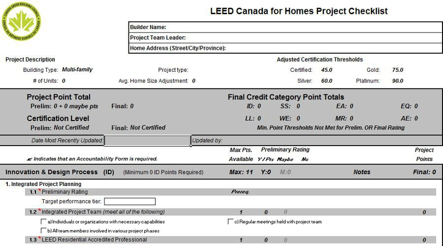 LEED for Homes Checklist