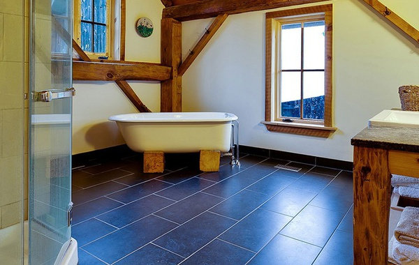 Radiant floor heat in a bathroom