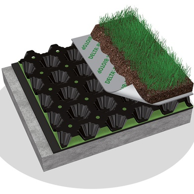 Delta Floraxx Dimpled water storage and drainage sheet for green roofs