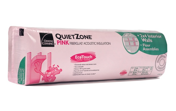 QuietZone PINK FIBERGLAS Acoustic insulation to reduce noise transmission