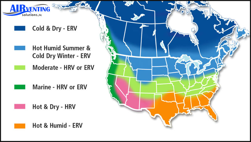 HRV or ERV System based on location map