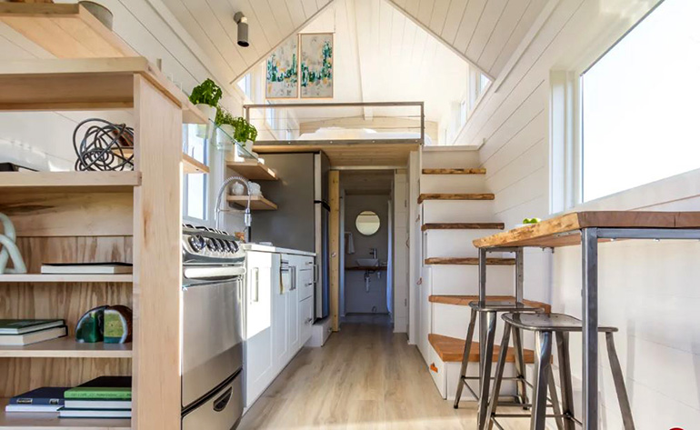Kitchen and dining area in Mobile tiny house