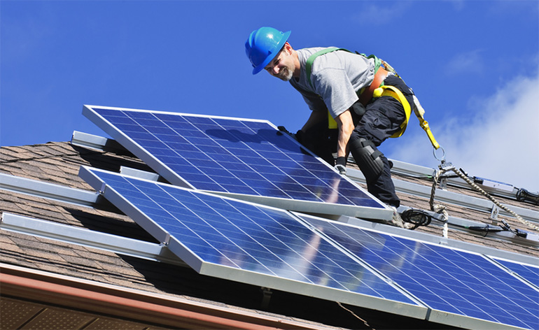 Roof top solar panel installation