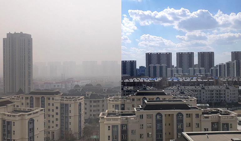 Comparison of Los Angeles smog in 2020 during stay at home pandemic shutdown