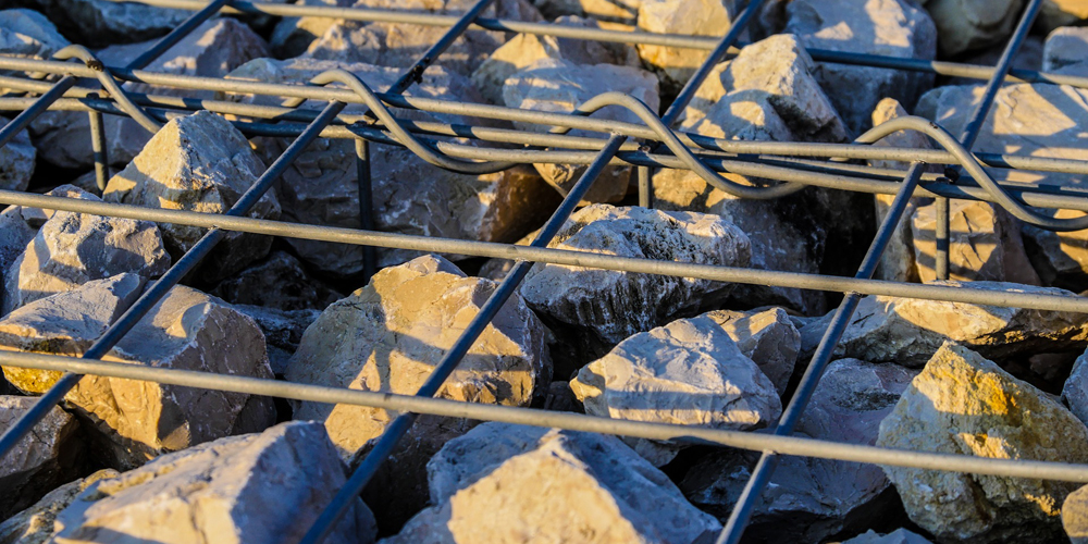 Gabion cage walls can save concrete use and lower carbon footprint