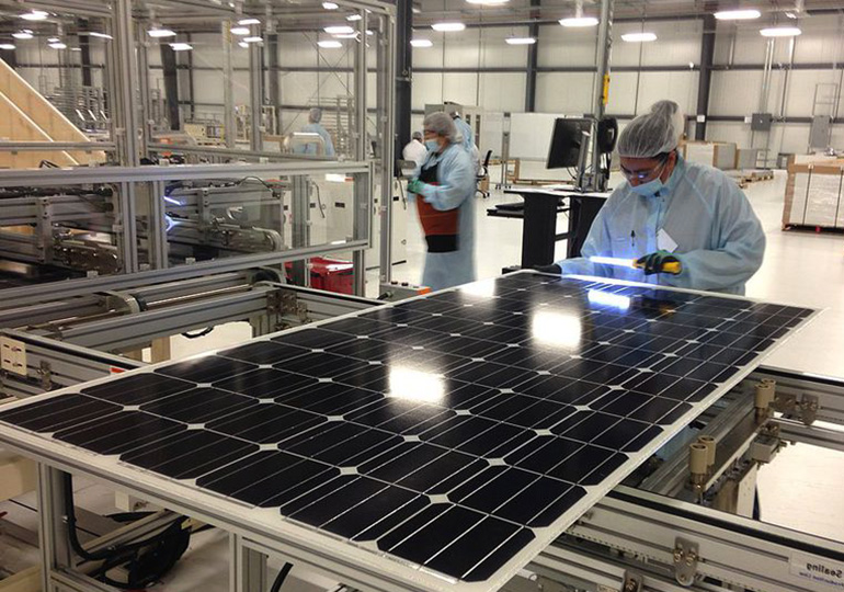Solar panel manufacturing has embodied energy and raw materials
