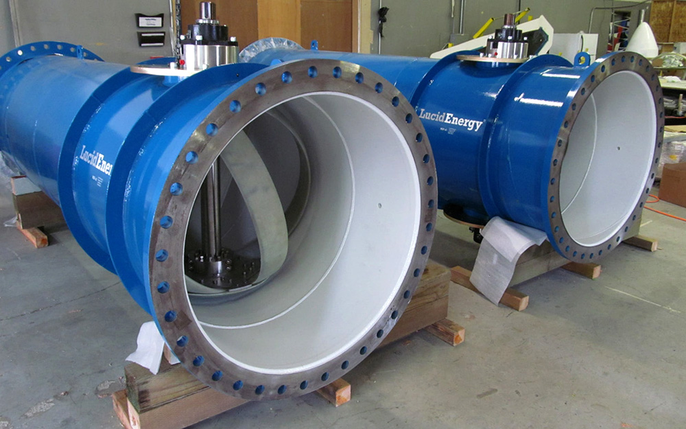 Water main hydroelectric power generating turbine from Lucid Energy