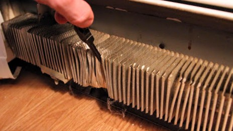 Aligning the fins in a baseboard heater can help stop clicking noises