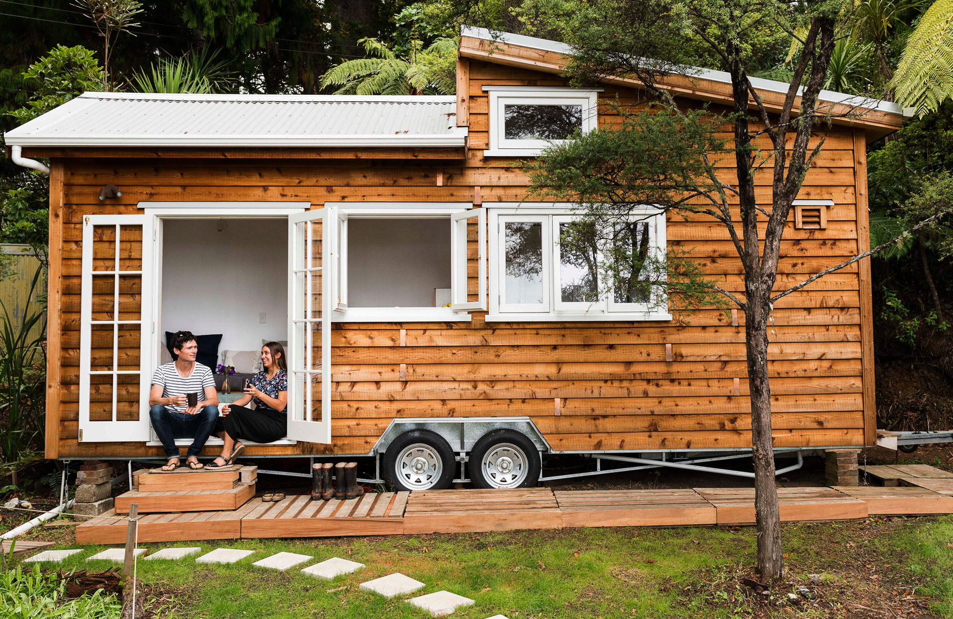 A legally parked Tiny Home in a backyard